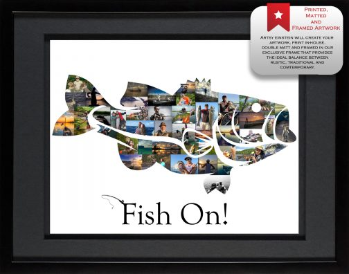 Bass Fish Collage Black Matted Frame