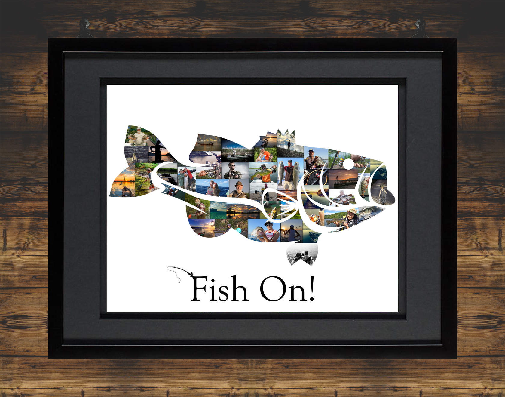 Bass Fish Collage with Black Frame and Backdrop