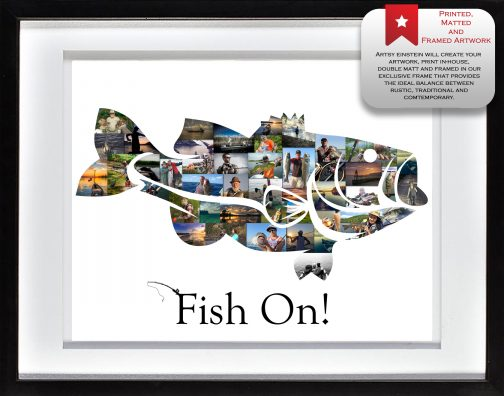 Bass Fish Collage White Matted Frame