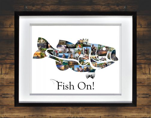 Bass Fish Collage Whited Matted Frame with Backdrop