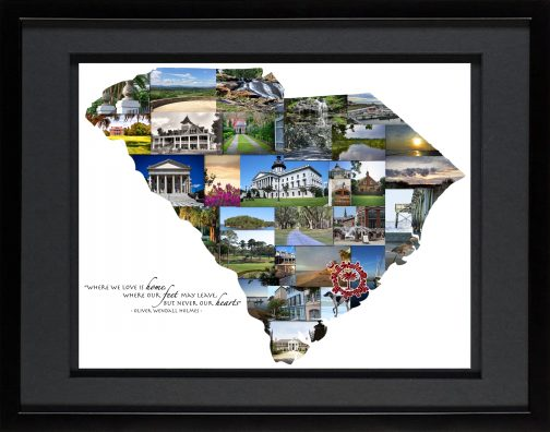 Charleston SC Photo Collage with Black Matted Frame and Palmetto Moon
