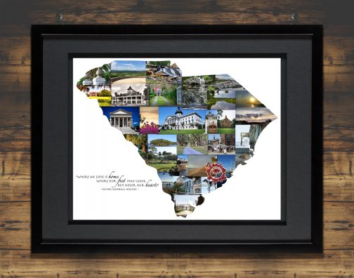 Charleston SC Art with Black Matted Frame and Backdrop