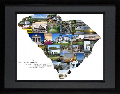 Charleston SC Photo Collage with Black Matted Frame