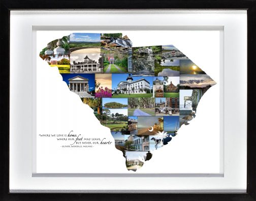 Charleston SC Photo Collage with White Matted Frame