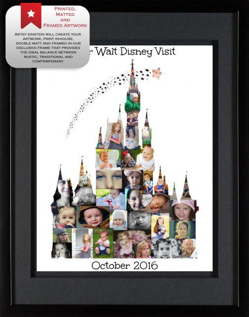 Cinderella Castle Collage Black Frame