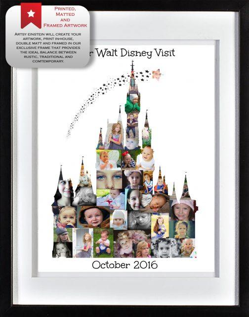 Cinderella Castle Collage White Frame
