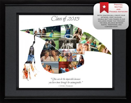 Graduation Cap Collage Black Frame