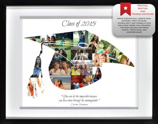 Graduation Cap Collage White Frame